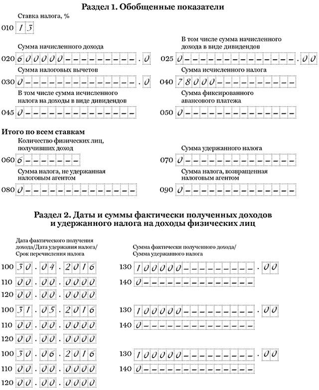 Аванс по зарплате в 6-НДФЛ: нужно ли показывать, как отразить, пример заполнения