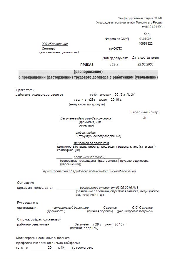 Заявление на увольнение по соглашению сторон: как правильно составить, образец